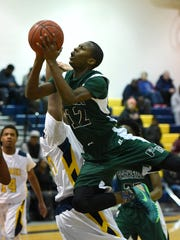 Parkside's Raequan Williams drives for a shot against Pocomoke  on Tuesday, Feb 9 at Pocomoke High School.
