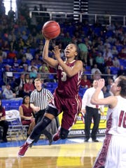 Riverdale's Anastasia Hayes (3) goes up for a shot as Morristown's Blayke Shultz (10) watches during the Class AAA quarterfinals on Wednesday March 9, 2016, at MTSU.