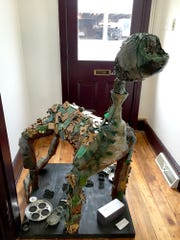 """""""Humans Are the Next Asteroid,"""" created by Jacqueline Eberle of Redland High School, won first place in York County Solid Waste Authority's Earth Day Recycled Art Contest."""