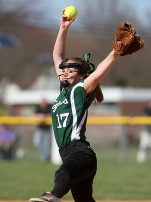 South Plainfield's Katherine Vill pitches against Monroe, Wednesday, April 15, 2015, in South Plainfield, NJ.