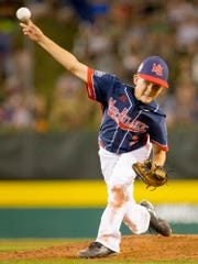 Jude Abbadessa pitches in relief for Maine-Endwell in their 13-10 win over Bowling Green Kentucky Wednesday at the Little League World Series in Williamsport.