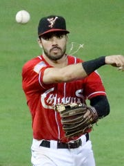 El Paso Chihuahuas second baseman Carlos Asuaje fires for first base against the Tacoma Rainiers last season at Southwest University Park.
