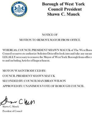 Resolution of Censure to officially and publicly censure Mayor Charles Wasko