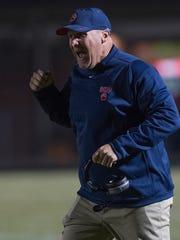 Belton-Honea Path head coach Russell Blackston reacts