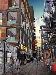 An alley will serve as a walkable entryway for restaurants, shops and bars.