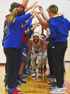 Roosevelt's Tahia Mitzel (23) takes the court after halftime during a game against O'Gorman Friday, Dec. 9, 2016, at Roosevelt High School in Sioux Falls.