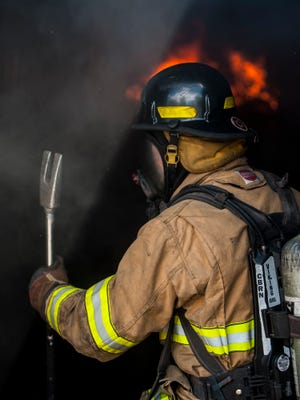 A firefighter during training.