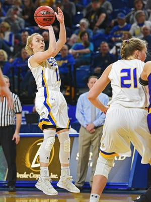 SDSU's Madison Guebert (11) takes a shot during a game against Western Illinois Saturday, Jan. 21, 2017, at Frost Arena on the South Dakota State University campus in Brookings, S.D.