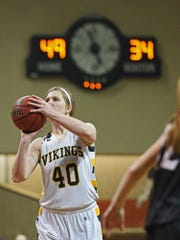 Augustana's Shelby Selland (40) pulls up for a shot