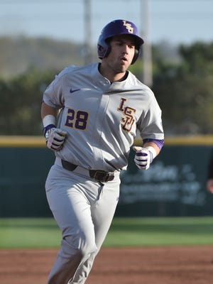 LSU's Jordan Romero does the home run trot  in the second game of the series, April 8, 2017 in Fayetteville, Arkansas. Photo by Chris Daigle Special to the Advertiser