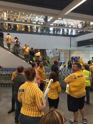 Customers wait in line for the opening of the new Columbus IKEA on Wednesday, June 7, 2017.