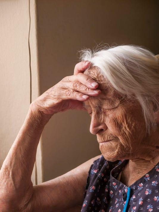Sad senior lady