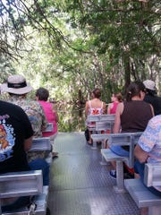 A pontoon boat transports visitors down Pepper Creek to Homosassa Springs State Park.