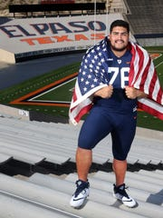 UTEP lineman Will Hernandez, an All-American Third Team selection, stands in the Sun Bowl in El Paso, Texas. Hernandez is expected to be a first- or second-round pick in the 2018 NFL Draft.