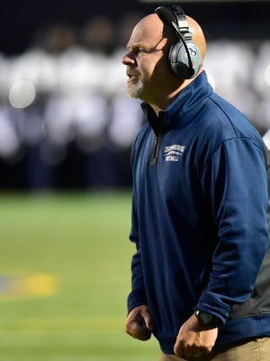 Chambersburg coach Mark Luther coaches the Trojans. Greencastle hosted Chambersburg in high school football on Friday, September 1, 2017 at Kaley Field. The Blue Devils won 28-7.