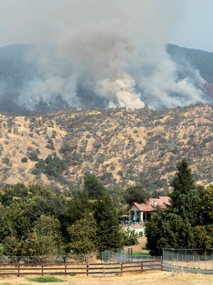 The Pier Fire continues to burn above Springville on Wednesday, Sept. 6, 2017