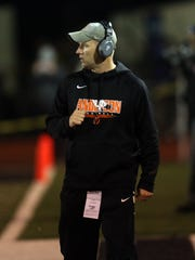 Anderson Head Coach Evan Dreyer reacts on the sideline in the playoff game between the Troy Trojans and the Anderson Redskins at Anderson High School, November 3, 2017. Anderson defeated Troy 33-0.