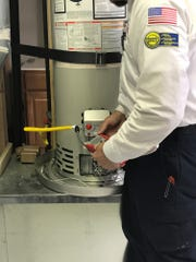 Gas Leak Search Using an electronic leak detector.