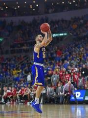 SDSU's Michael Orris (50) hits the game winning shot