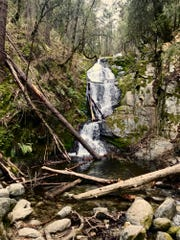 Boulder Creek Falls is in a shady canyon and features three cascades.