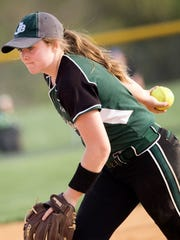 James Buchanan's Jenna Mongold pitches for the Rockets.