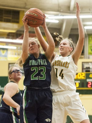 Allie Olsen, left, of C.M. Russell' is one of the top defensive players in the state and should anchor the Rustlers' chances.