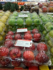 Apples imported from the United States are displayed