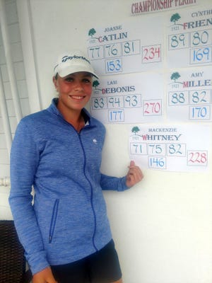 Mackenzie Whitney, a rising junior at Oakmont Regional, stands next to the scoreboard after winning Oak Hill Country Club's women's club championship in Fitchburg recently. Whitney bested a field which included 22-time club champ Joanne Catlin and nine-time champ Cynthia Friend to beome the youngest club champ in Oak Hill Country Club history.