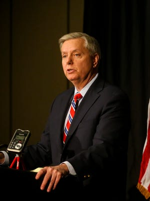 U.S. Senator Lindsey Graham, R-South Carolina, held a news conference at the Embassy Suites in Des Moines on Friday, February 20, 2015.