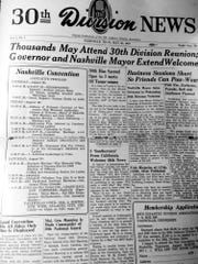 "A laminated copy of ""30th Division News"" shows the itinerary for the WWII 30th Infantry's first reunion in Nashville in 1947."