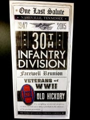 "A poster highlights ""One Last Salute"" for the WWII 30th Infantry at its last reunion, which took place in Nashville this week."