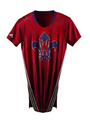 """These are the Western Conference All-Star jerseys. The Eastern Conference jerseys will be similar but a deep shade of blue, with an E and """"EAST"""" on the front."""