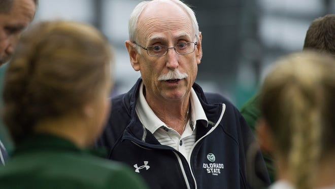 Coach Jon Messick chats with the CSU tennis team before the Rams take on Wyoming in the Mountain West Championship at Fort Collins Country Club Thursday, April 28, 2016. Messick is retiring after more than 30 seasons with the Rams.