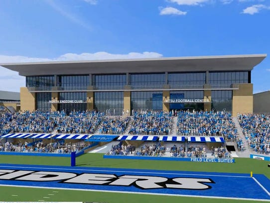 A bill allowing alcohol sales at MTSU campus sports facilities passed the Tennessee House on Monday. A rendering of the proposed MTSU football team facility, located in the north end zone of Floyd Stadium is shown in a file document.