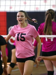 Morris Hills Kayley Moran celebrates a point vs. Randolph during their Dig Pink volleyball match. October 10, 2017. Rockaway, New Jersey