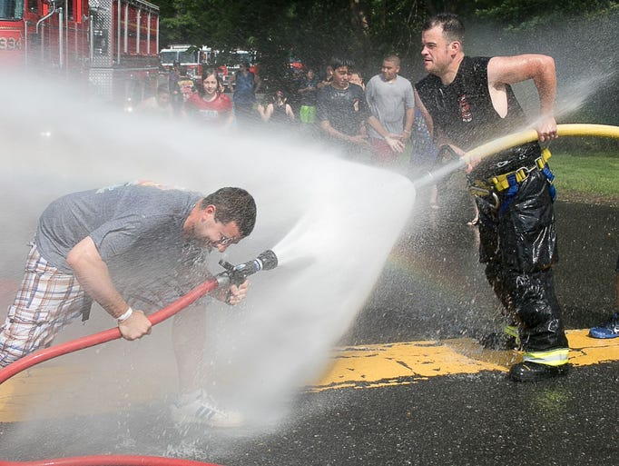 Saddle Brook FD having fun with the hoses. Franklin