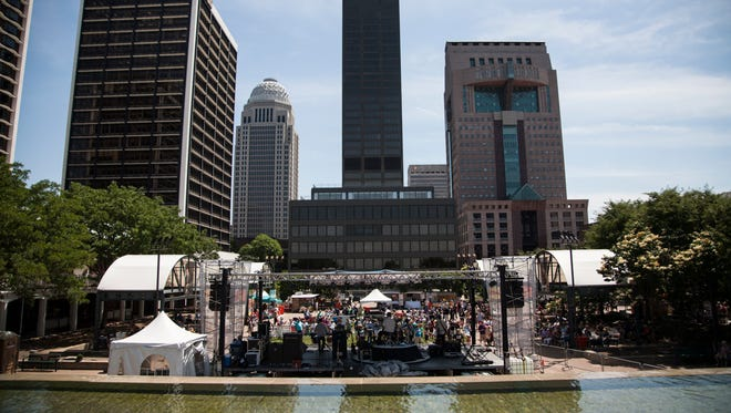 The Belvedere on May 22, 2015 during  the Abby Road on the River music festival.