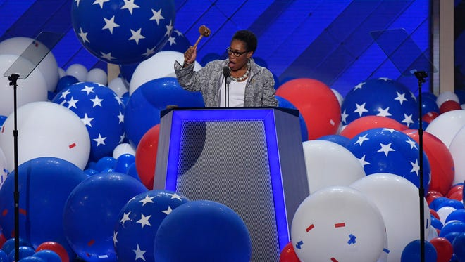 Rep. Marcia Fudge, D-OH, bangs the gavel to end the 2016 Democratic National Convention.