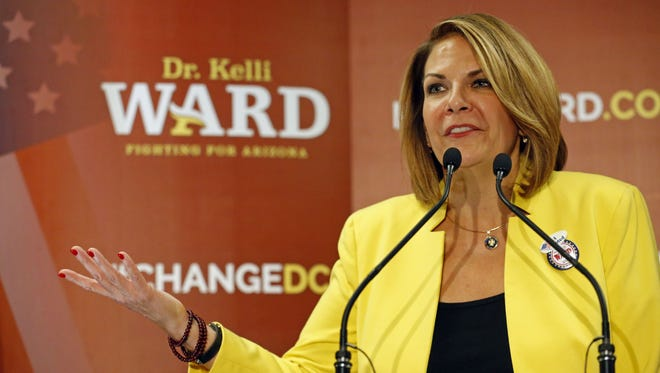 Senate candidate Kelli Ward concedes to John McCain during her primary election night party at the Scottsdale DoubleTree Resort Aug. 30, 2016, in Scottsdale. Two former members of a super PAC supportive of Trump have joined Ward's Senate campaign, according to a statement from Ward issued Friday.