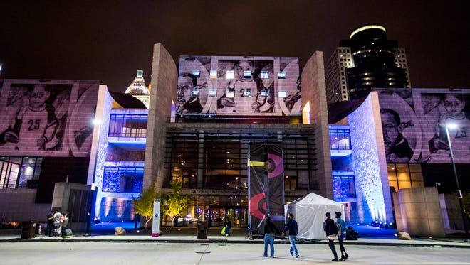 A projection activates the National Underground Railroad Freedom Center during Blink Cincinnati in October.