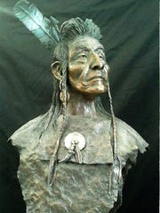 Native American bronze bust by Ron Lape.