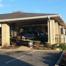 The exterior where the car hit the front of the building.