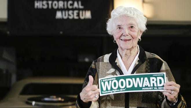 Margaret Dunning, 103, of Plymouth shows off her last Woodward Dream Cruise sticker while at her home in Plymouth on Wednesday, Aug. 7, 2013.