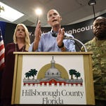 Gov. Rick Scott declares a state of emergency during a news conference at the Hillsborough County Emergency Operations Center in Tampa Aug. 28.