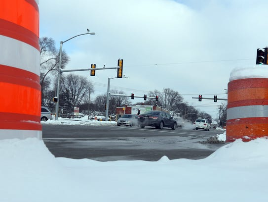 Construction barrels were still evident at the intersection