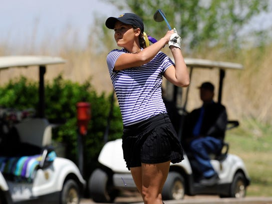 Wylie's Kaitlyn Harbin tees off from No. 13 during the Region I-4A tournament second round at  Shadow Hills Golf Course in Lubbock on Thursday. Harbin shot a second-round 78 as the Lady Bulldogs tallied a school-record 309 to finish region runnerup and qualify for state.