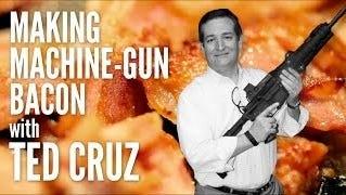 Presidential candidate Ted Cruz cooks bacon on an assault rifle at an Iowa gun range.