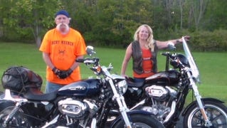 Gil and Lucille Boebel enjoys hitting the roads on their Harleys. Lucille is a Crestview Schools bus driver.