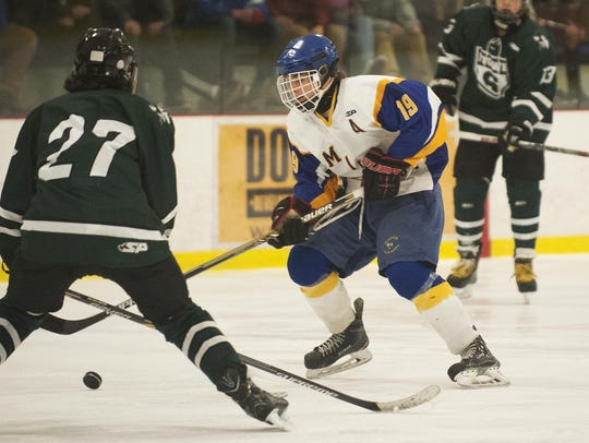 Milton's Liam Fersing (19) skates with the puck during