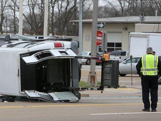 A van and a truck collided Wednesday in the 1900 block of South Highland Avenue.